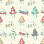 Pattern with rockets and ufo — Stock Vector