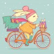 Cute rabbit riding a bike with christmas tree and gifts. Vector illustration — Stock Vector #51603771