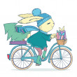 Cute rabbit riding a bike with christmas tree and gifts. Vector illustration — Stock Vector #51603789