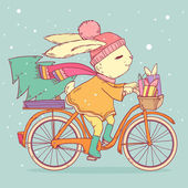 Cute rabbit riding a bike with christmas tree and gifts. Vector illustration — Stockvector