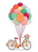 Vintage drawing bike with party balloons,party flags and basket with flowers. Vector illustration isolated on white background — Stock Vector