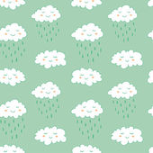 Seamless pattern with cute smiling clouds — Stock Vector