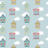住宅と雲とかわいいのシームレスなパターン — ストックベクタ