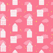 Cute seamless pattern with houses and clouds — Stock Vector