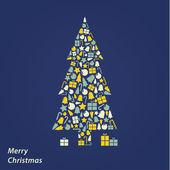 Vector Christmas card. Modern Christmas square background in fre — Stockvektor