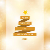 Vector ribbon tree with typography. Merry christmas and happy ne — Vector de stock
