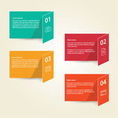 Vector template - four colorfully folded cards with place for yo — Stock Vector