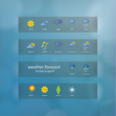 Weather forecast icons. Vector icons - stylized weather events. — Stock Vector