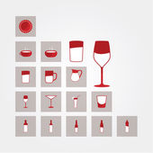 Vector icons. Glasses and bottles. Bar, and restaurant pictogram — Stock Vector