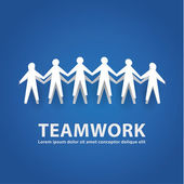 Vector teamwork illustration. Papermade people in cooperative wo — Stock Vector