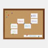Wektor corkboard osi czasu szablon. szablon kreatywnych osi czasu i — Wektor stockowy