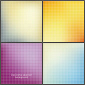 Pack of four colorfully mesh backgrounds with soft patterns. — Stock Vector