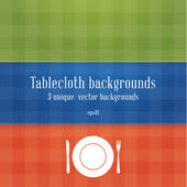 Three colorfully tablecloth backgrounds. Blue, green and red tab — Stock Vector
