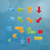 Basic vector arrows. Beveled vector buttons in modern design. Si — Stock Vector