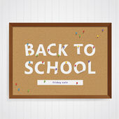 Vector back to school illustration. Semi-real corkboard with pap — Stock Vector