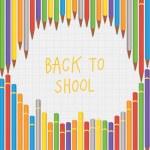 Vector back to school crayon composition. Square decorative bann — Stock Vector #50315675
