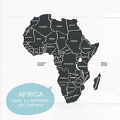Hand illustrated vector map of Africa. — Vector de stock
