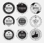 Set of retro vintage logo badges with grunge — Stock Vector