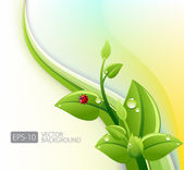 Green leaves ecology with waves — Stock Vector