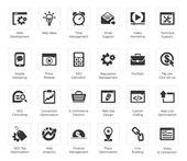 Seo e desenvolvimento conjuntos de ícones — Vetor de Stock