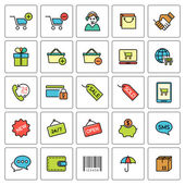 Shopping and e-commerce icons set — Stock Vector