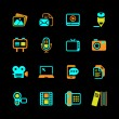 Multimedia Icons colored on black series — Stock Vector