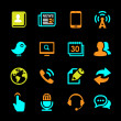 Media and Communication icons set colored series — Stockvectorbeeld