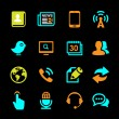 Media and Communication icons set colored series — Vettoriali Stock