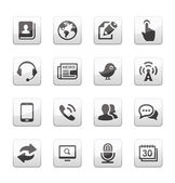 Media and Communication icons set silver gray series — Stock Vector