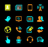 Media and Communication icons set colored series — Stock vektor