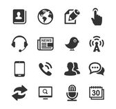 Media and Communication icons set black series — Stock Vector
