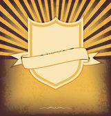 Vector shield retro vintage label on sunrays background — Stock Vector
