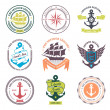Set Of Vintage Retro Nautical Badges And Labels — Stock Vector #37751755