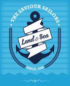 Vintage Retro Nautical Label — Stockvektor