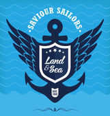 Vintage Retro Nautical Label — Stock Vector