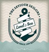 Vintage Retro Nautical Label — Stock Vector