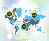 Moderna världen karta infographic med abstrakta världen bakgrund — Stockvektor