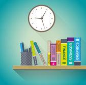 Books on the shelves — Vector de stock