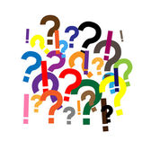 A lot of question and exclamation marks, questions and answers — Stock Vector
