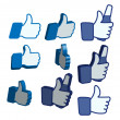 Like thumbs up button set — Stock Vector