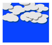 Paper white clouds on blue background — Stock Vector