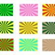 Vintage colored rays background set — Stock Vector #38958389