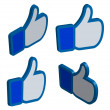 Facebook like thumbs up button 3d set vector illustration — Stock Vector #41494499
