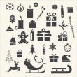 Christmas and Winter icons collection - vector silhouette — Stock Vector #36793125