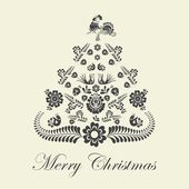 Stylized design Christmas tree with Czech and moravien ornaments — Stock vektor