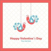 Happy valentines day. Love birds. — Vettoriale Stock