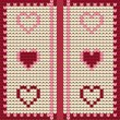 Knitted textile decorative valentine hearts, seamless pattern — Stock Vector