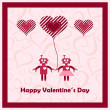 Happy valentines day with loving robots. — Stock Vector #38357549