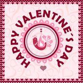 Felice giorno di san valentino. carta di amore uccello. — Vettoriale Stock
