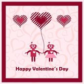Happy valentines day with loving robots. — Stock Vector